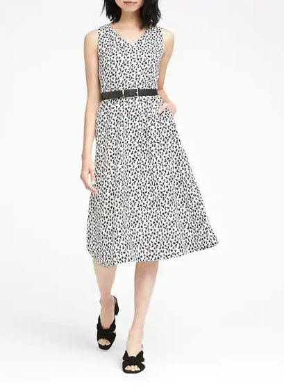 Print Midi Fit-And-Flare Dress from Banana Republic