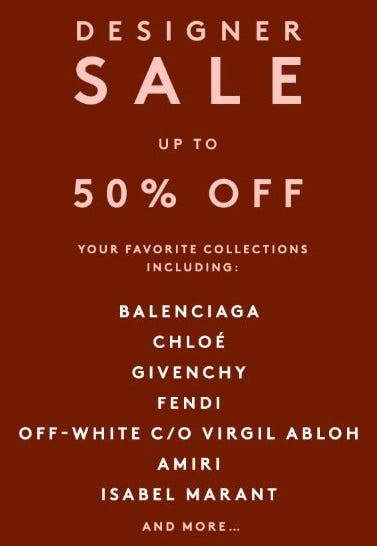 Designer Sale up to 50% Off from Barneys New York