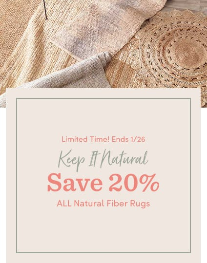 20% Off All Natural Fiber Rugs from Cost Plus World Market