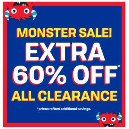 Monster Sale: Extra 60% Off All Clearance