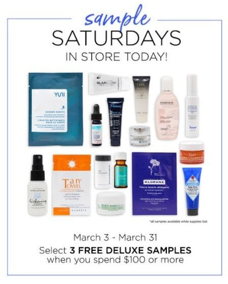 Select 3 Free Deluxe Samples when You Spend $100 or More from Blue Mercury