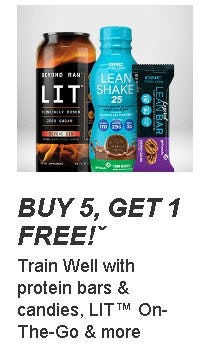 Buy 5, Get 1 Free on Protein Bars and Candies, LIT On-The-Go and More from GNC