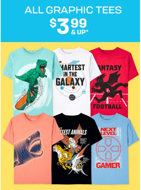 All Graphic Tees $3.99 and Up from The Children's Place