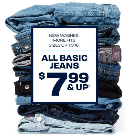 All Basic Jeans $7.99 and Up from The Children's Place Gymboree