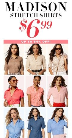 Madison Stretch Shirts up to 84% Off from New York & Company