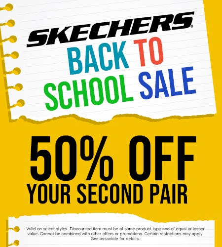SKECHERS BACK TO SCHOOL 50% OFF YOUR 2ND PAIR SALE! from Skechers