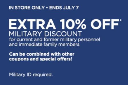 edbab0f63578 Extra 10% Off Military Discount from JCPenney