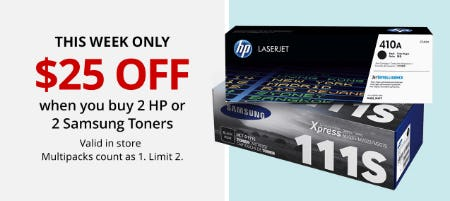 Buy 2 HP or 2 Samsung Toners and Get $25 Off from Office Depot