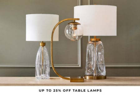 Up to 25% Off Table Lamps from Pottery Barn