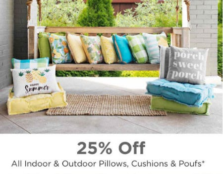25% Off All Indoor & Outdoor Pillows & More from Kirkland's