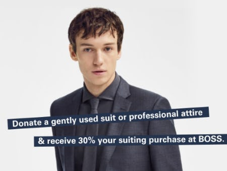 30% Off your Next Suit from Boss Hugo Boss