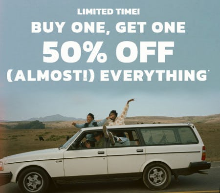 Buy One, Get One 50% Off (Almost) Everything from Hollister California
