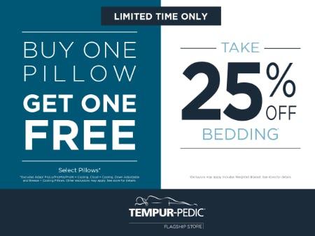 BOGO Select Pillows + 25% Off Bedding from Tempur-Pedic