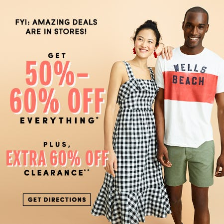 40-60% off Everything! And Extra 60% off Clearance! from J.Crew Mercantile