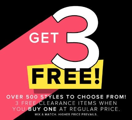 3 Free Clearance Items When You Buy One at Regular Price from New York & Company