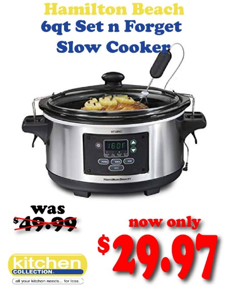 40% off Hamilton Beach Set n Forget Slow Cooker from Kitchen Collection