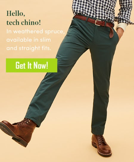 Tech Chino in Weathered Spruce from J.Crew Mercantile