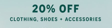 20% Off Clothing, Shoes +  Accessories from Anthropologie