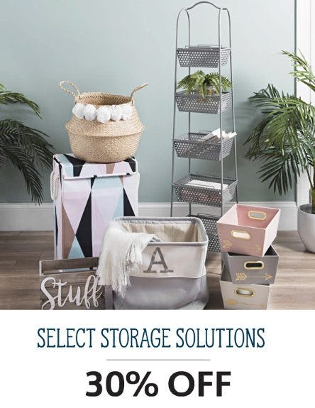 30% Off Select Storage Solutions from Kirkland's