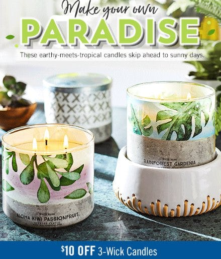 $10 Off 3-Wick Candles from Bath & Body Works