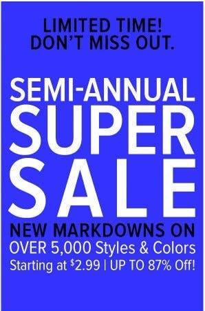 Semi-Annual Super Sale