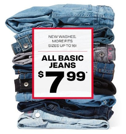 All Basic Jeans $7.99 from The Children's Place Gymboree