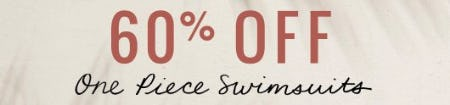 60% Off One Piece Swimsuits