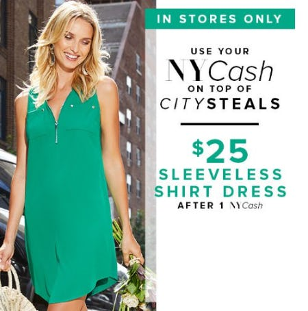 $25 Sleeveless Shirt Dress from New York & Company