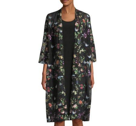 Caroline Rose Fluttering Floral Duster Kimono from Neiman Marcus