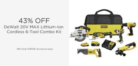 43% Off DeWalt 20V Max Lithium-Ion Cordless 6-Tool Combo Kit from Sears