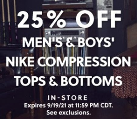 25% Off Men's & Boys' Nike Compression Tops & Bottoms