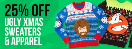 25% Off Ugly Xmas Sweaters & Apparel