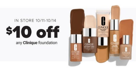 $10 Off Any Clinique Foundation