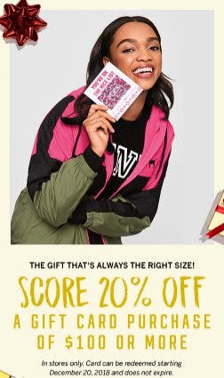 Score 20% Off a Gift Card Purchase of $100 or More from Victoria's Secret