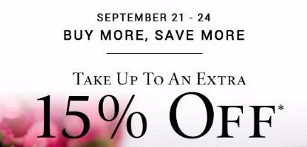 Up to an Extra 15% Off Your Purchase