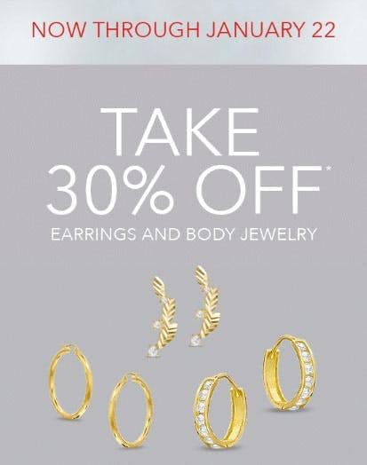 30% Off Earrings & Body Jewelry