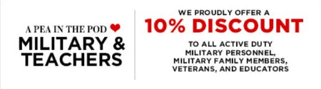 Military & Teachers 10% Discount from A Pea In The Pod