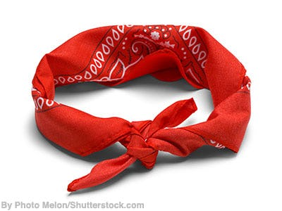 Red bandana headband.