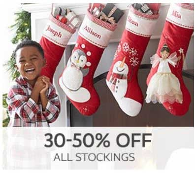 30–50% Off All Stockings from Pottery Barn Kids