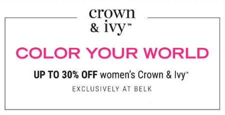 Up to 30% Off Women's Crown & Ivy from Belk