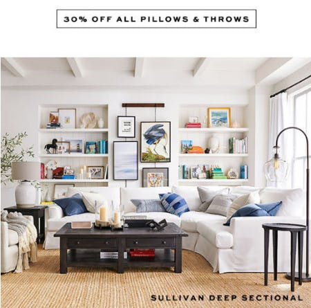 30% Off All Pillows & Throws from Pottery Barn
