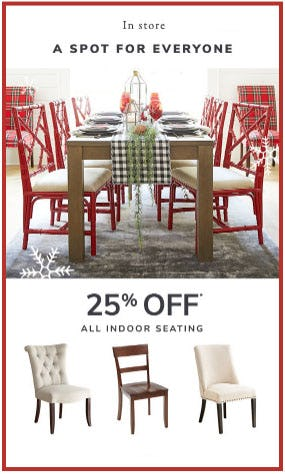 25% Off All Indoor Seating