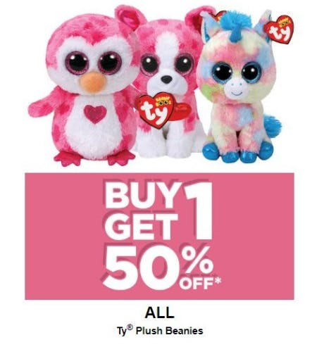 BOGO 50% Off Ty Plush Beanies from Michaels