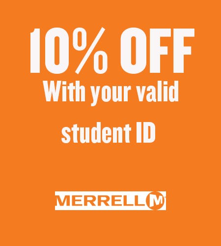 10% OFF with your valid student ID from Merrell