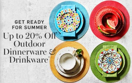 20% Off Outdoor Drinkware & Select Outdoor Dinnerware from Williams-Sonoma