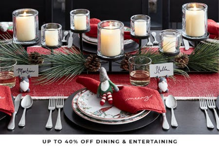Up to 40% Off Dining & Entertaining from Pottery Barn