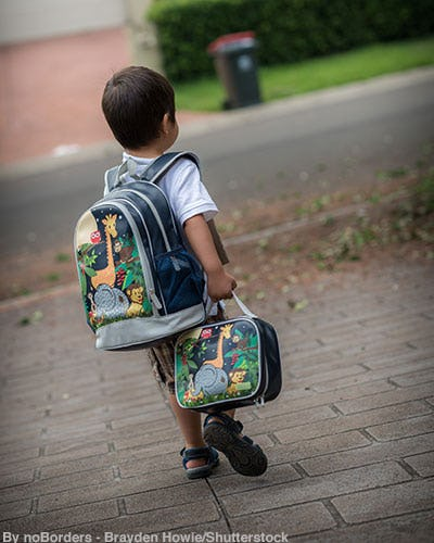 Little boy wearing a backpack with zoo animals on it while carrying a matching lunch box.