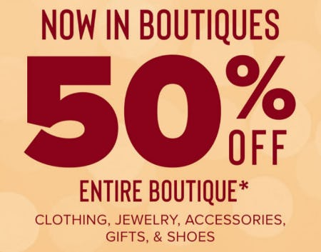 50% Off Clothing, Jewelry, Accessories, Gifts & Shoes