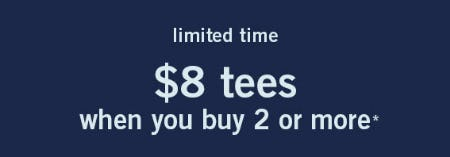 Tees $8 with 2 or More Purchase from abercrombie kids