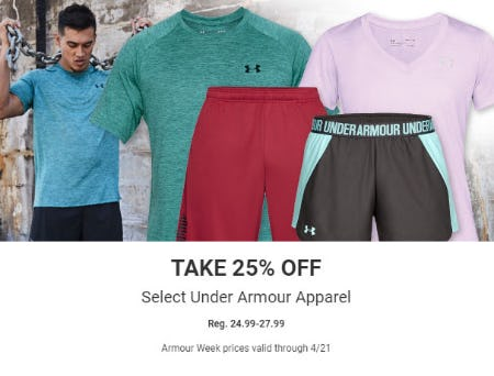 25% Off Select Under Armour Apparel from Dick's Sporting Goods